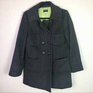 J. Crew 100% Wool Charcoal Gray Peacoat